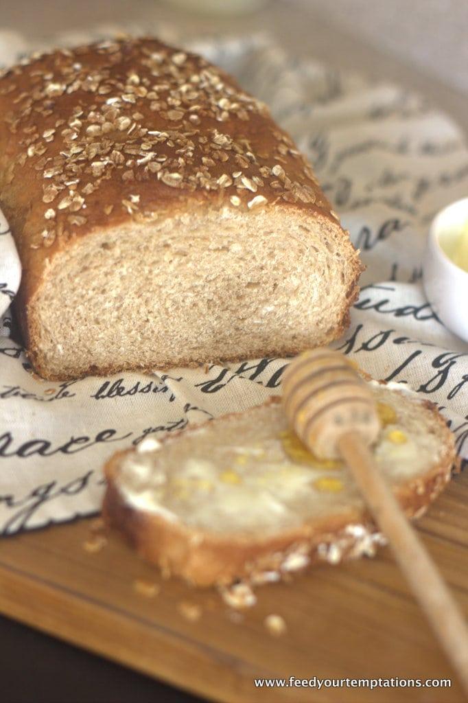 whole wheat bread, honey oats bread