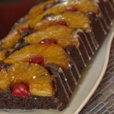 Eggless chocolate pineapple upside down cake