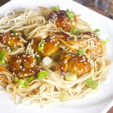 Shrimp Teriyaki Noodles and homemade Teriyaki Sauce