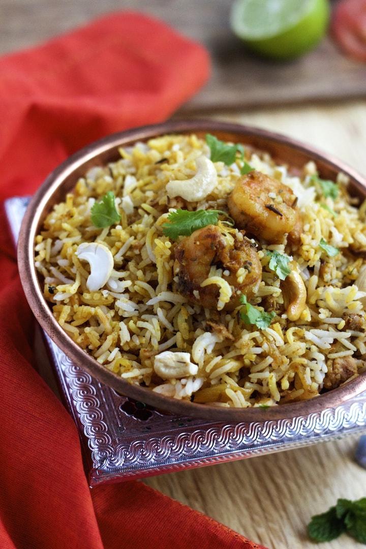 biryani, shrimp biryani recipe, chicken biryani, chicken recipes, shrimp biryani recipes, prawns recipe, prawns biryani recipe, biyiyani recipe, one pot meal
