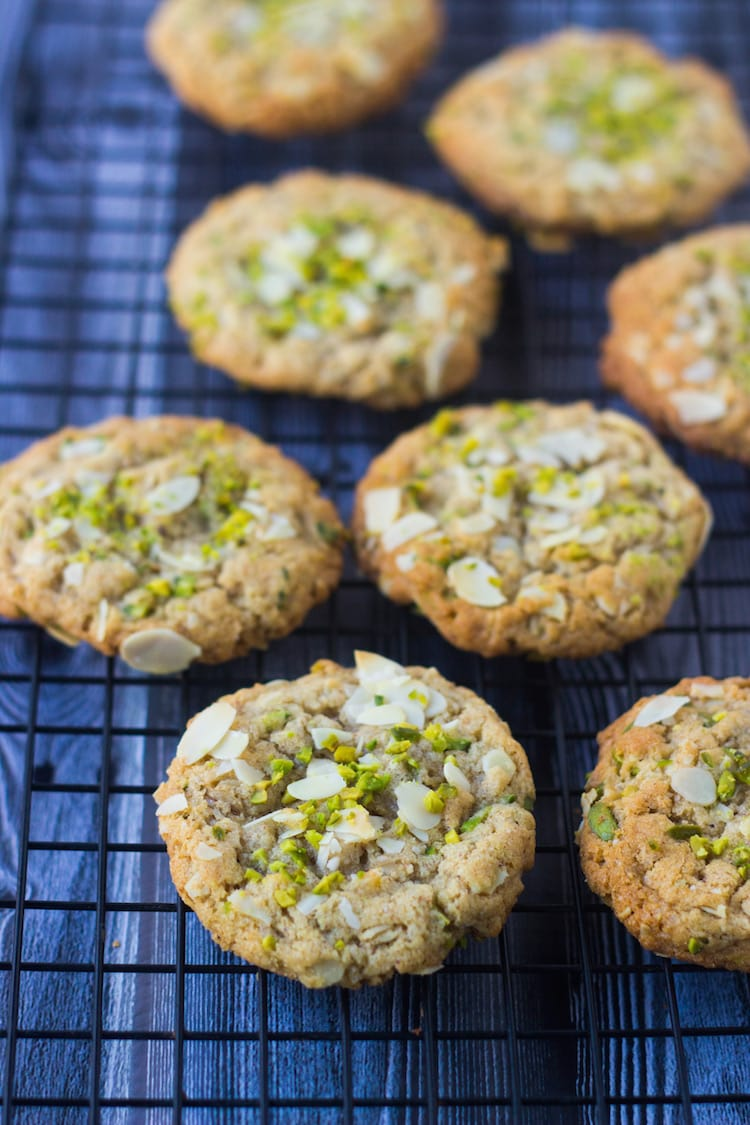 almond butter pistachio Oatmeal Cookies, almond butter cookies, badam cookies, pistachio cookies, nut butter cookies, teatime cookies, best cookies, gourmet