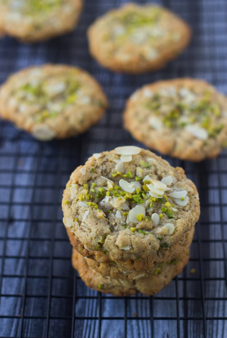 almond butter pistachio Oatmeal Cookies,almond butter cookies, badam cookies, pistachio cookies, nut butter cookies, teatime cookies, best cookies, gourmet