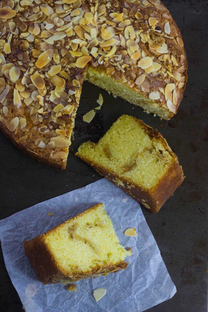 Saffron almond coffee cake ,saffron cakes, saffron almond cake recipe, saffron infused cake, saffron butter cake, moist saffron cake
